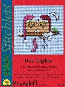 Mouseloft Owls Together Card Christmas Stitchlets cross stitch kit
